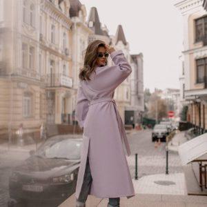купить весеннее женское пальто халат лилового цвета по выгодной цене от поставщика