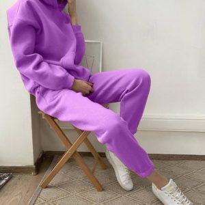 весенний лиловый спортивный костюм с брюками на резинке по доступной цене