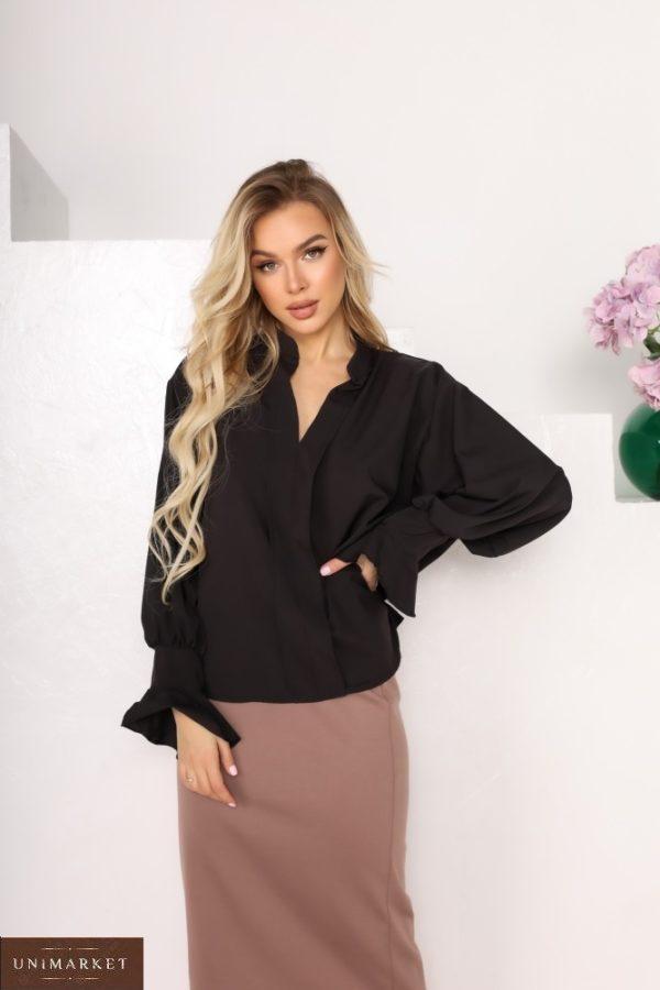 Купити блузку чорну з софта для жінок з рукавами-дзвіночками (розмір 42-56) в Україні