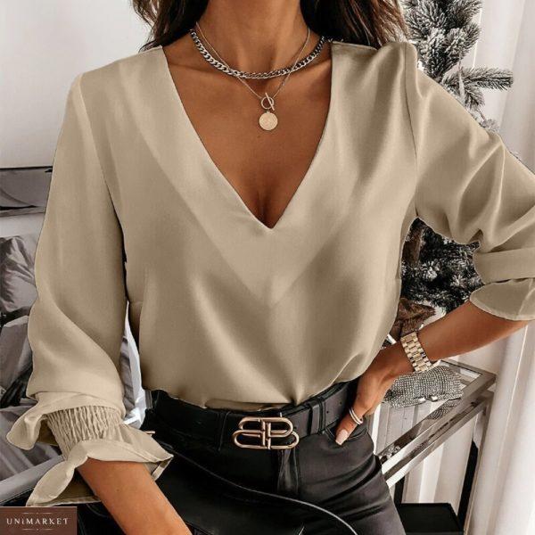 Приобрести бежевую женскую блузу из софта с открытой спиной (размер 42-56) в интернете