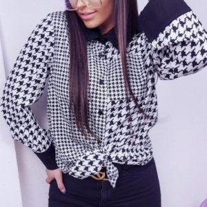 Купить черно-белую блузу женскую с принтом гусиная лапка (размер 42-48) недорого