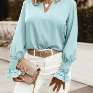 Купити жіночу блузу з довгим рукавом дешево на гумці (розмір 42-56) кольору ментол