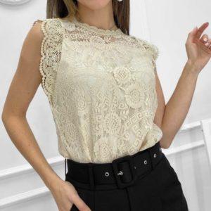 Купить бежевую блузу для женщин из гипюра без рукавов онлайн
