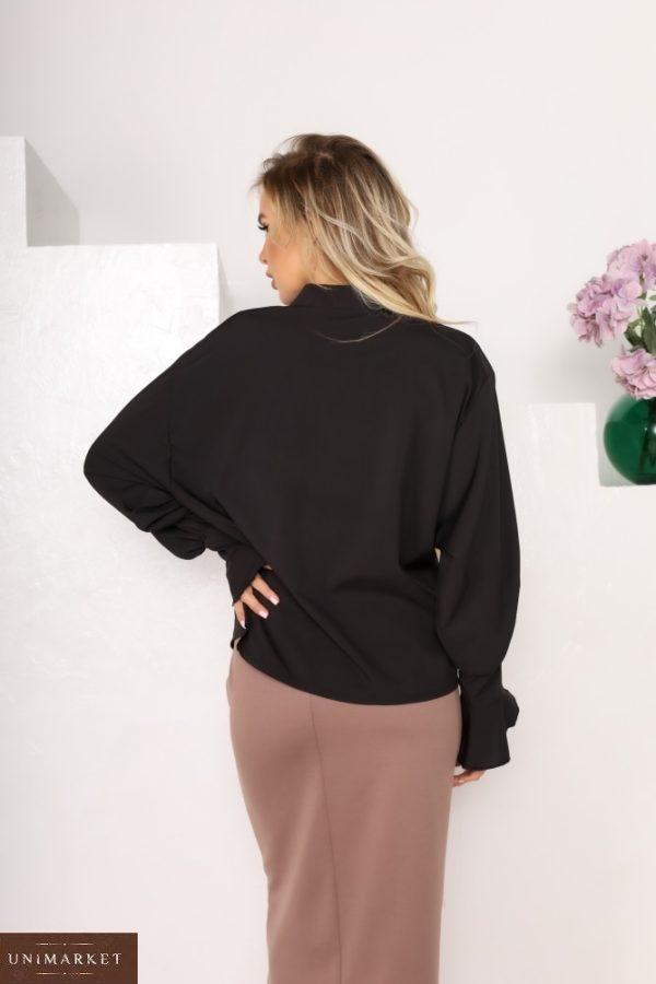 Придбати недорого чорну блузу з софта з рукавами-дзвіночками (розмір 42-56) для жінок