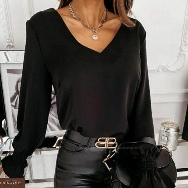 Заказать черную блузу для женщин из софта с открытой спиной (размер 42-56) по скидке