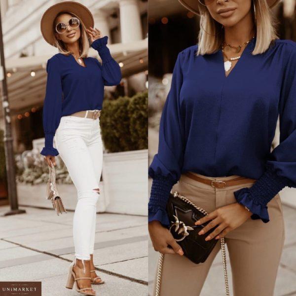 Придбати синю блузу жіночу з довгим рукавом на гумці (розмір 42-56) вигідно