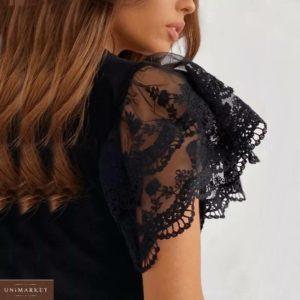 Заказать черную блузу с кружевными черного цвета рукавами-бабочками недорого