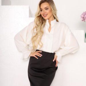 Купить белую блузу женскую из софта с рукавами-колокольчиками (размер 42-56) по низким ценам