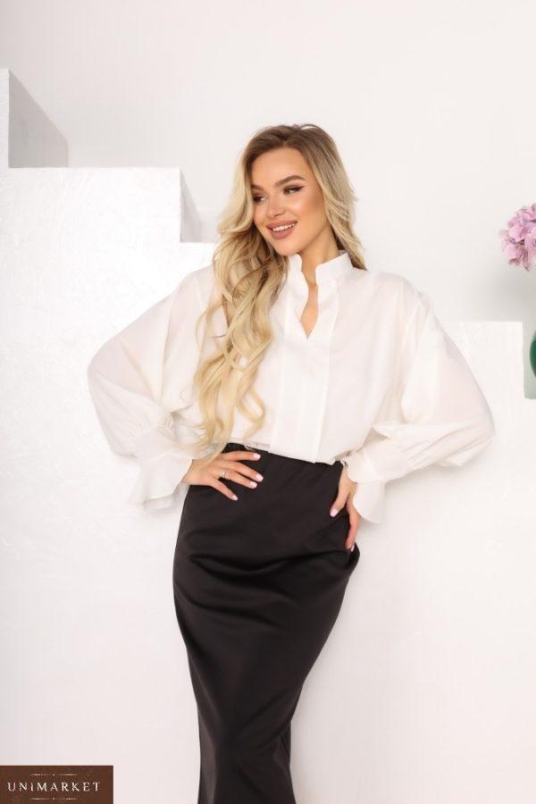 Купити білу блузу жіночу з софта з рукавами-дзвіночками (розмір 42-56) за низькими цінами