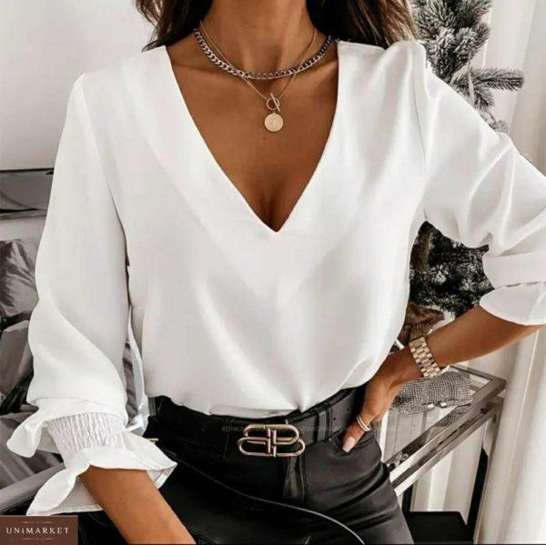 Заказать блузу женскую из белого софта с открытой спиной (размер 42-56) на распродаже