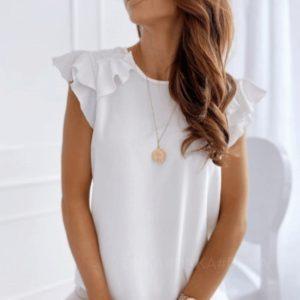 Купити молочну жіночу ніжну блузку з короткими рукавами-рюшами (розмір 42-56) в інтернеті