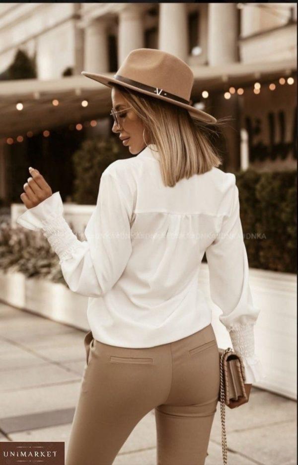 Купити молочного кольору жіночу блузу з довгим рукавом на гумці (розмір 42-56) в інтернеті