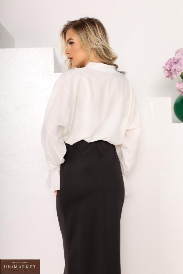 Придбати дешево жіночу блузу з софта білого кольору з рукавами-дзвіночками (розмір 42-56)