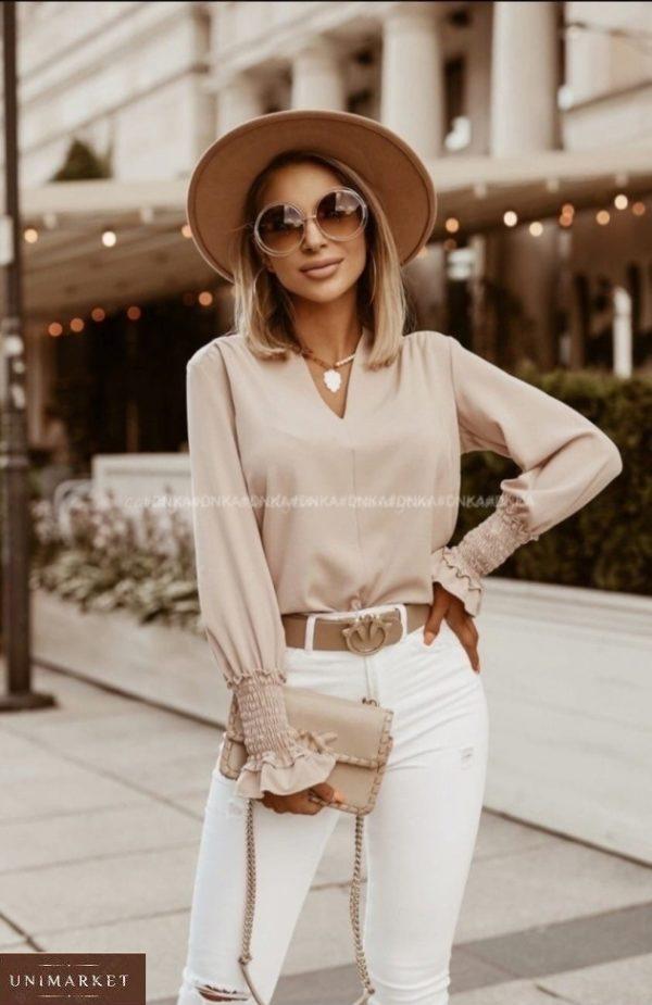 Придбати бежеву блузку з довгим рукавом на гумці жіночу онлайн (розмір 42-56)