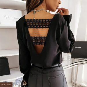 Придбати чорного кольору жіночу блузу з софта з відкритою спиною (розмір 42-56) в Україні