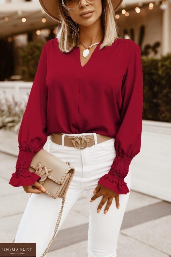 Замовити кольору марсала жіночу блузу онлайн з довгим рукавом на гумці (розмір 42-56) по знижці