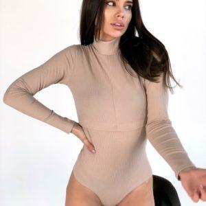 Купить закрытое бежевое боди из трикотажа мустанг онлайн для женщин