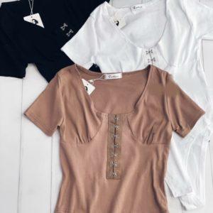 Купити беж, біле, чорне боді за знижкою з гачками з коротким рукавом для жінок