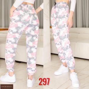 Приобрести по низким ценам женские спортивные штаны с разноцветным принтом серые (размер 42-50) недорого