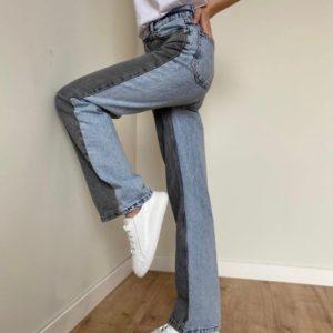 Приобрести серо-голубые женские двухцветные джинсы палаццо по низким ценам