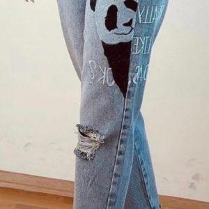 Купить женские голубые джинсы мом с пандой для женщин