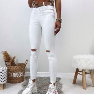 Заказать женские белые джинсы скинни с прорезями на коленях в Украине онлайн