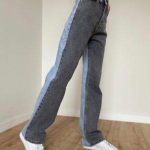 Купить серо-голубые двухцветные женские джинсы палаццо онлайн