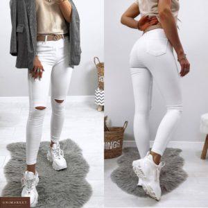 Приобрести по низким ценам белые джинсы скинни с прорезями на коленях для женщин