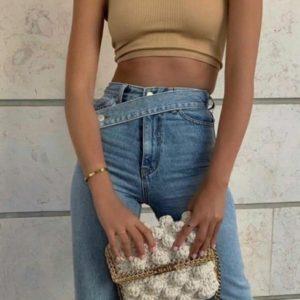 Приобрести голубого цвета женские джинсы палаццо с косым поясом в Украине