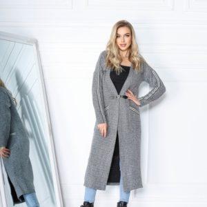 Заказать женский длинный кардиган серого цвета вязки на трикотажной основе (размер 42-56) по низким ценам