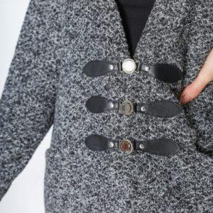 Купить графит женский вязаный кардиган на трикотажной основе (размер 42-56) по низким ценам