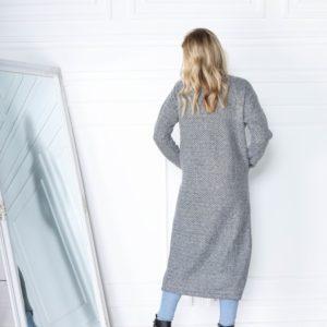 Приобрести недорого длинный кардиган серого цвета вязки на трикотажной основе (размер 42-56) для женщин