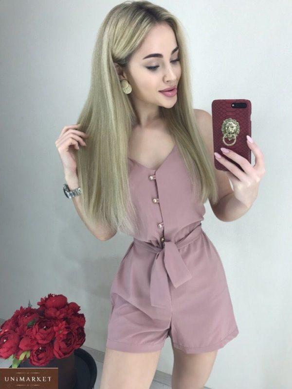 Заказать онлайн комбинезон цвета пудра на бретельках с шортами для женщин