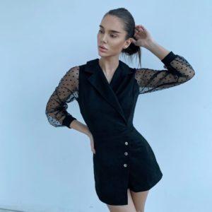 Заказать в интернете женский замшевый комбинезон с длинным рукавом черного цвета в Украине