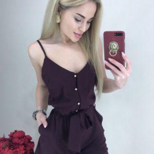 Заказать в интернет-магазине женский комбинезон на бретельках с шортами цвета марсала
