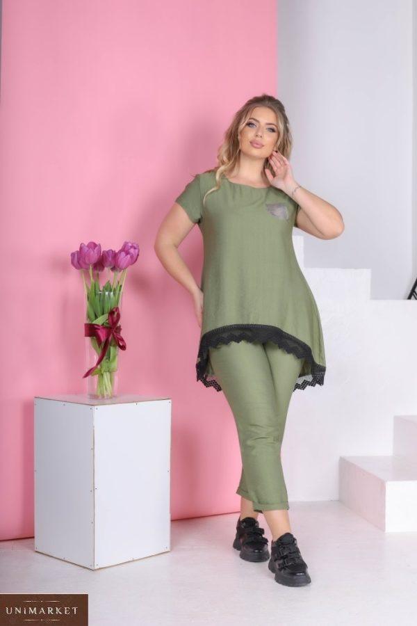 Заказать цвета хаки льняной костюм для женщин с туникой (размер 42-56) в Украине