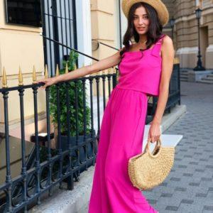 Купить розовый брючный костюм для женщин свободного кроя с топом (размер 42-48) в интернете