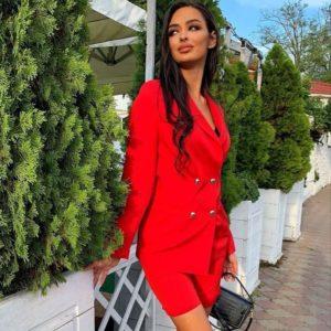 Приобрести выгодно красного цвета костюм кэжуал для женщин: бермуды с пиджаком в Украине