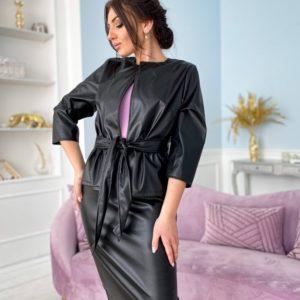 Заказать черный костюм женский из эко кожи: жакет+юбка (размер 50-56) недорого