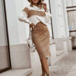 Заказать бежевый прогулочный костюм женский с юбкой и джемпером (размер 44-50) недорого