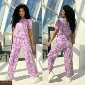 Купить женский принтованный костюм с футболкой (размер 42-48) фиолетовый недорого