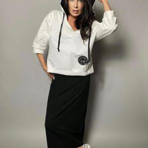 Купить женский комплект: сарафан и свитшот (размер 42-48) черно-белый дешево