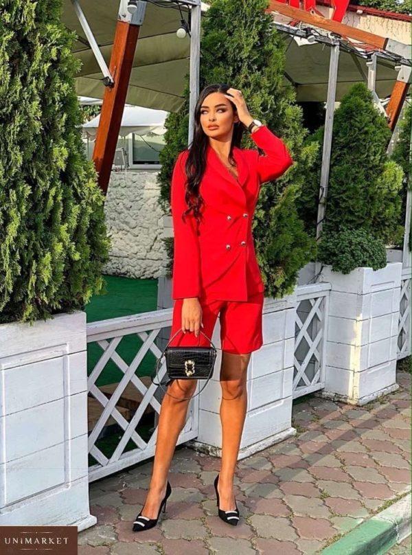 Заказать красный костюм для женщин кэжуал: бермуды с пиджаком по скидке