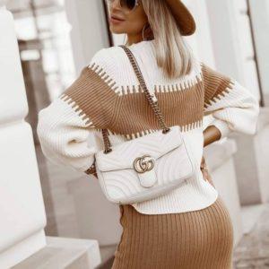 Приобрести женский бежевого цвета прогулочный костюм с юбкой и джемпером (размер 44-50) в интернете