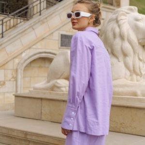 Приобрести лиловый женский костюм из льна: рубашка+комби (размер 42-48) в интернете