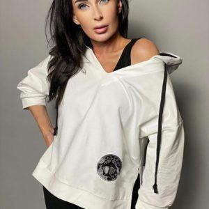 Купить бело-черного цвета комплект для женщин: сарафан и свитшот (размер 42-48)
