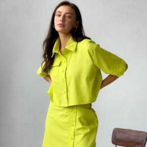 Заказать по скидке салатового цвета костюм из льна с юбкой для женщин