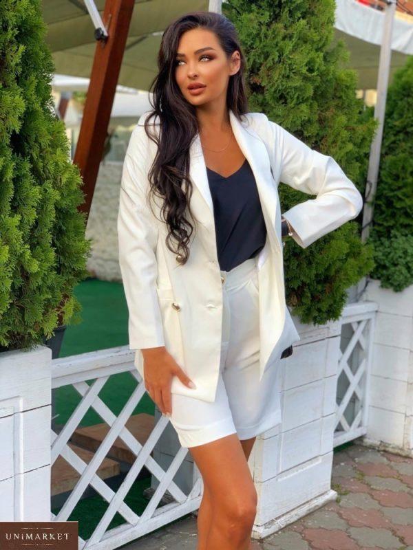 Заказать дешево женский костюм кэжуал: бермуды с пиджаком белого цвета
