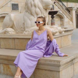 Приобрести женский костюм из льна: рубашка+комби лилового цвета (размер 42-48) дешево