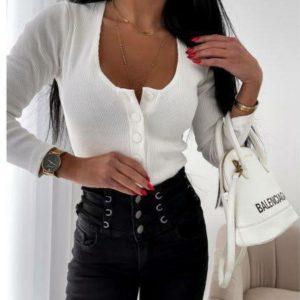 Заказать белую кофту для женщин трикотажную на пуговицах онлайн